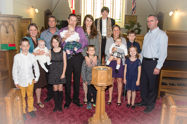 Rev. Julia with Kirk, Grant & Mitchell with their Families